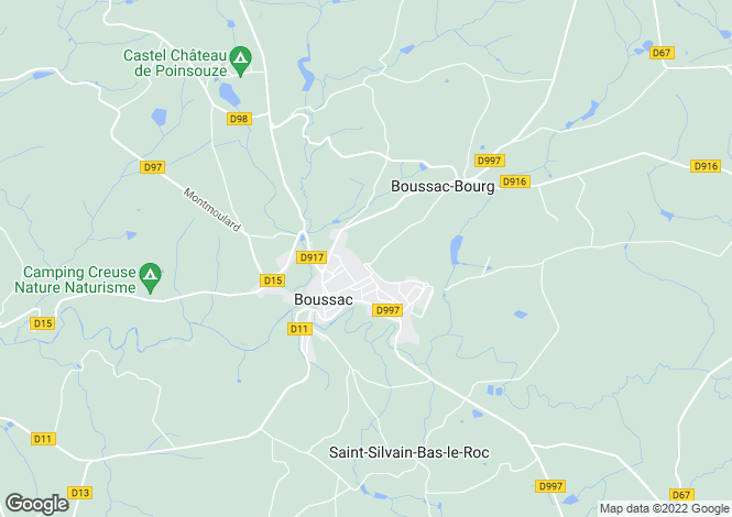 Map for boussac, Creuse, France