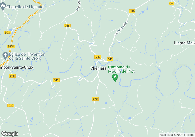 Map for cheniers, Creuse, France