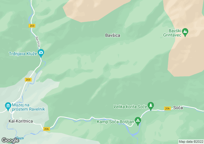 Map for Bovec, Tolmin