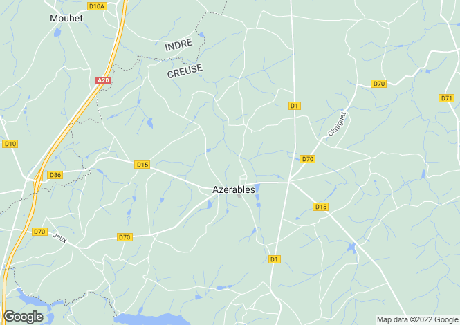 Map for Azerables, Creuse, Limousin
