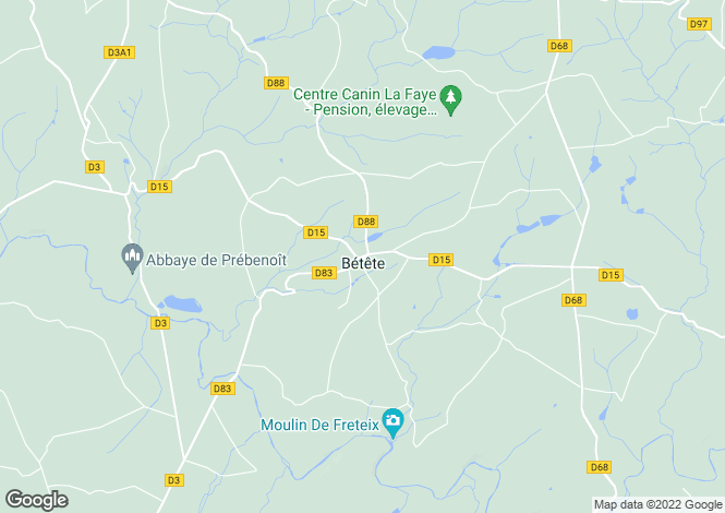 Map for betete, Creuse, France