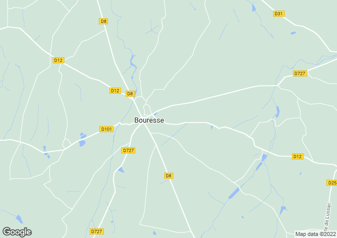 Map for bouresse, Vienne, France