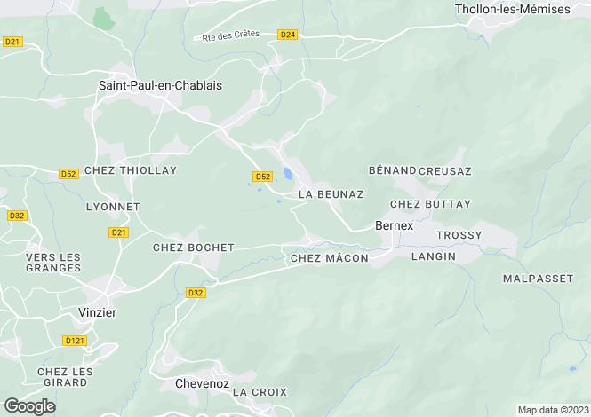 Map for Rhone Alps, Haute-Savoie, St-Paul-En-Chablais