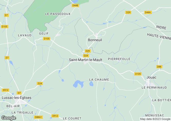 Map for St-Martin-le-Mault, Haute-Vienne, Limousin