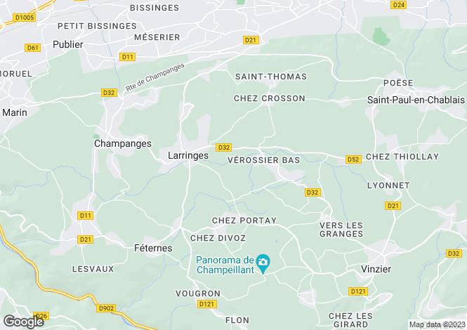 Map for Rhone-Alpes, Haute-Savoie, Larringes