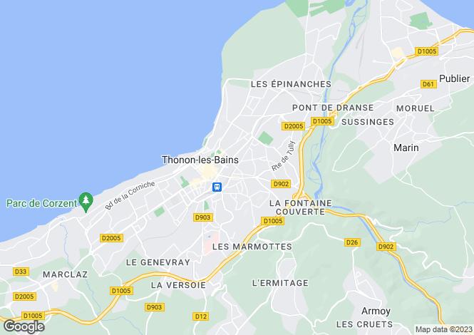 Map for France - Rhone Alps, Haute-Savoie, Thonon-les-Bains