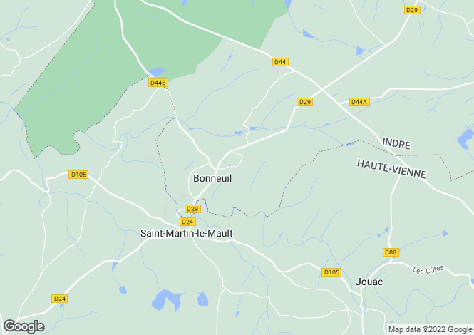 Map for bonneuil, Indre, France