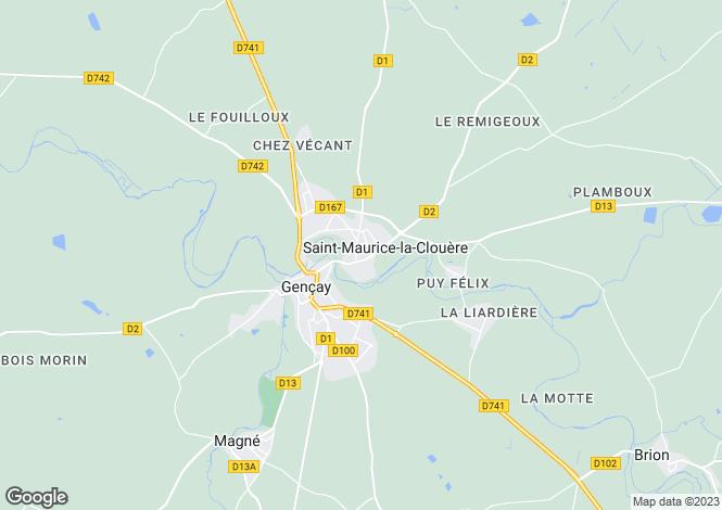 Map for Poitou-Charentes, Vienne, St-Maurice-la-Clouère