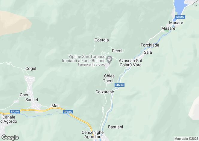 Map for Alleghe, Belluno, Veneto