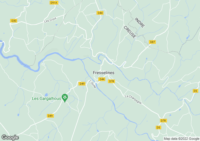 Map for fresselines, Creuse, France