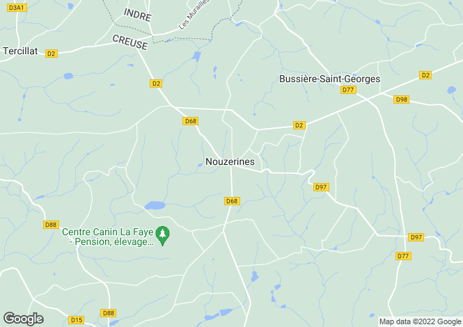 Map for nouzerines, Creuse, France