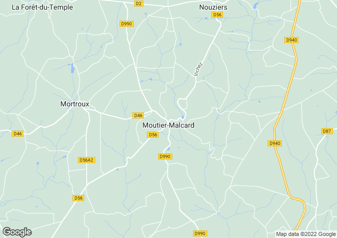 Map for moutier-malcard, Creuse, France