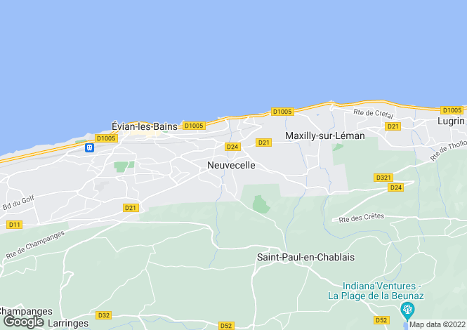 Map for NEUVECELLE, LAKE GENEVA/LAC LEMAN, The Alps,