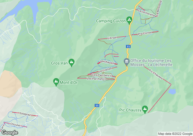 Map for Les Mosses, Vaud