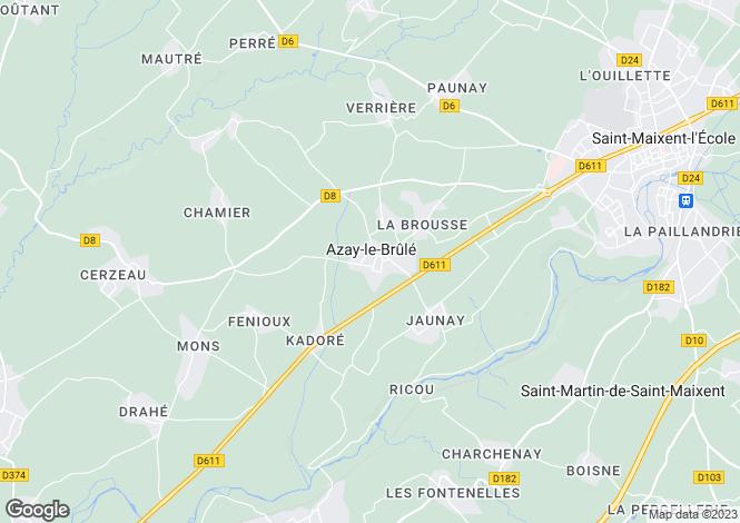 Map for azay-le-brule, Deux-Sèvres, France