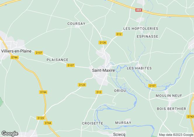 Map for Poitou-Charentes, Deux-Sèvres, St-Maxire