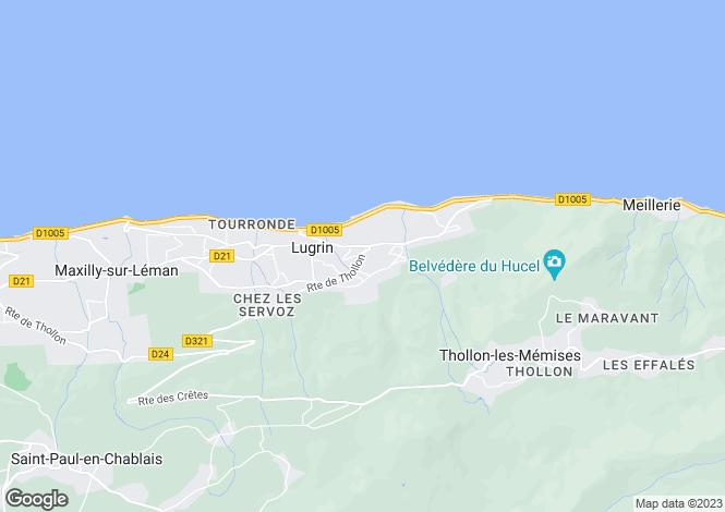 Map for Rhone-Alpes, Haute-Savoie, Lugrin
