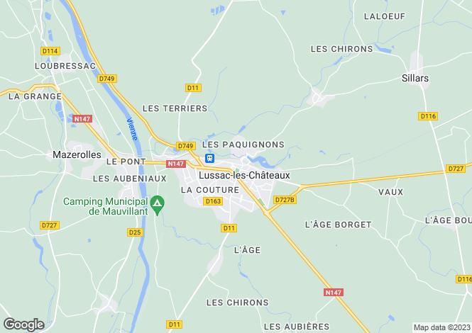 Map for Secteur: Lussac-les-Châteaux, Vienne