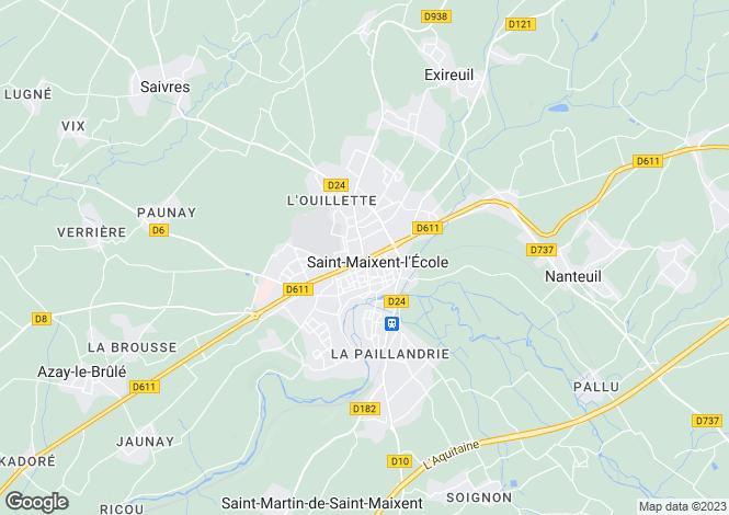 Map for Poitou-Charentes, Deux-Sèvres, Saint-Maixent-l'École