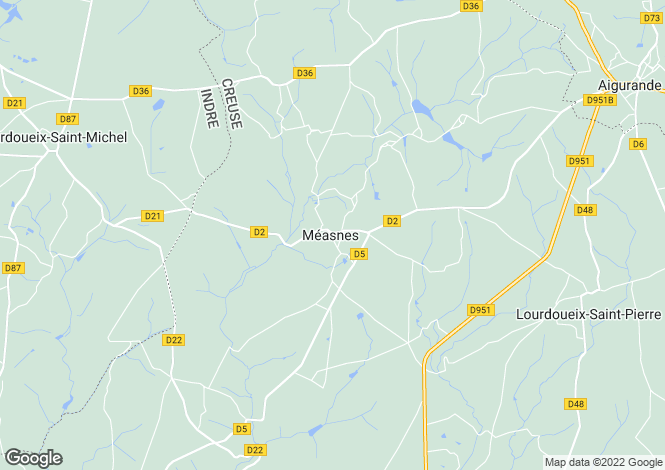 Map for measnes, Creuse, France