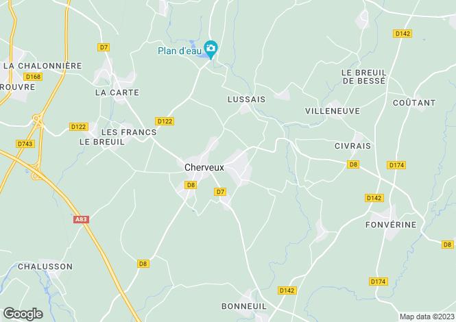 Map for cherveux, Deux-Sèvres, France