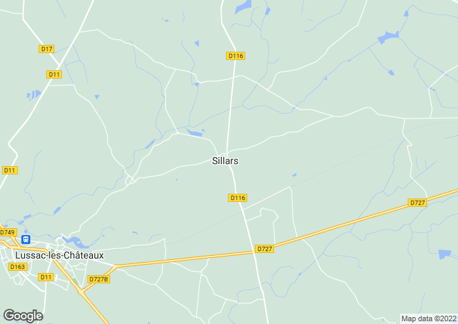 Map for sillars, Vienne, France