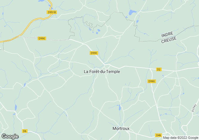 Map for Limousin, Creuse, La Forêt-du-Temple