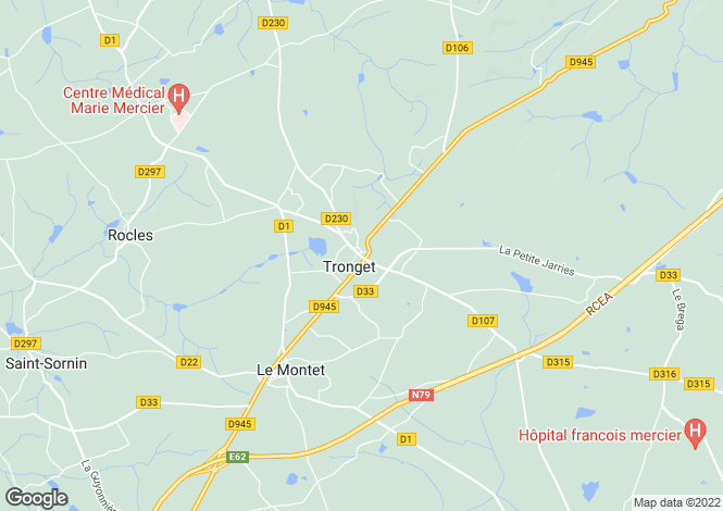 Map for Auvergne, Allier, Tronget