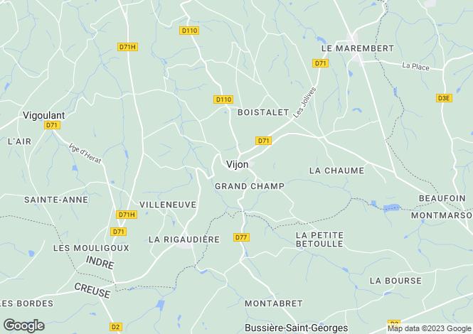 Map for Centre, Indre, Vijon