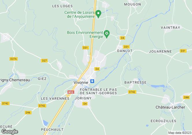 Map for Poitou-Charentes, Vienne, Vivonne