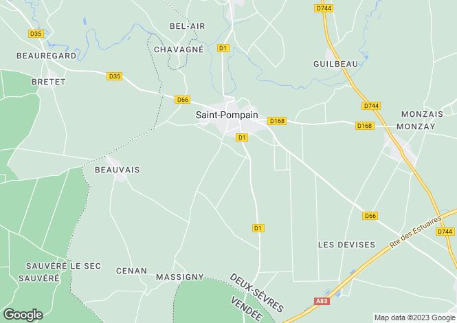 Map for Poitou-Charentes, Deux-Sèvres, St-Pompain