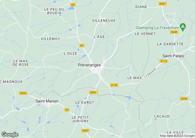 Map for preveranges, Cher, France