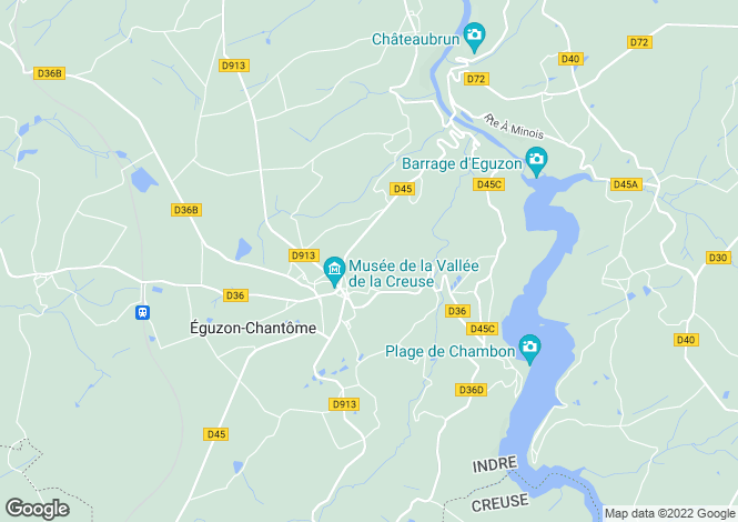 Map for eguzon, Indre, France