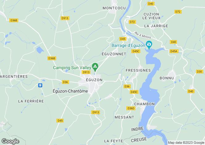 Map for Centre, Indre, Éguzon-Chantôme