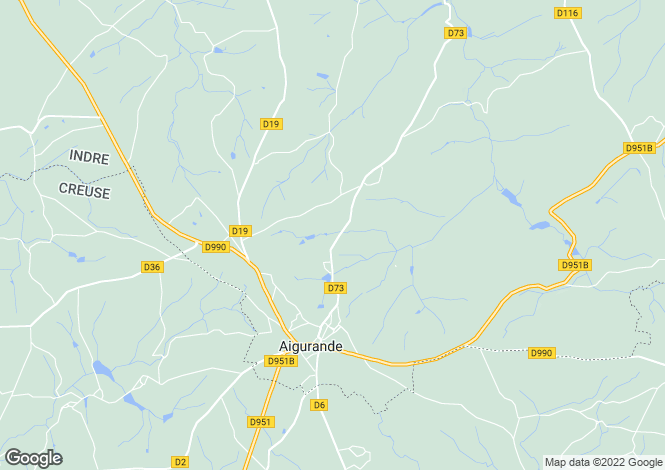 Map for aigurande, Indre, France