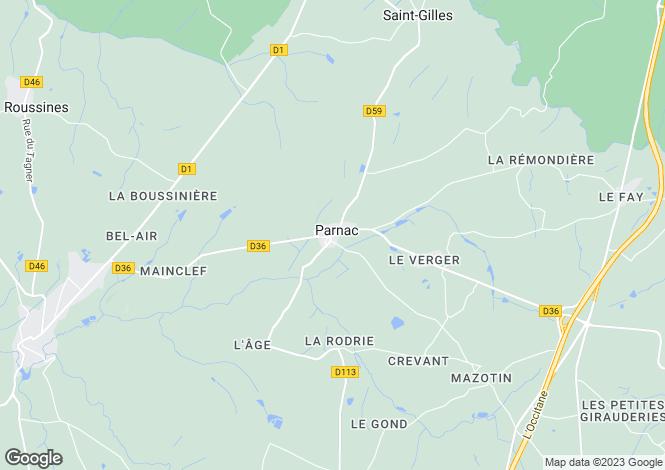 Map for parnac, Indre, France