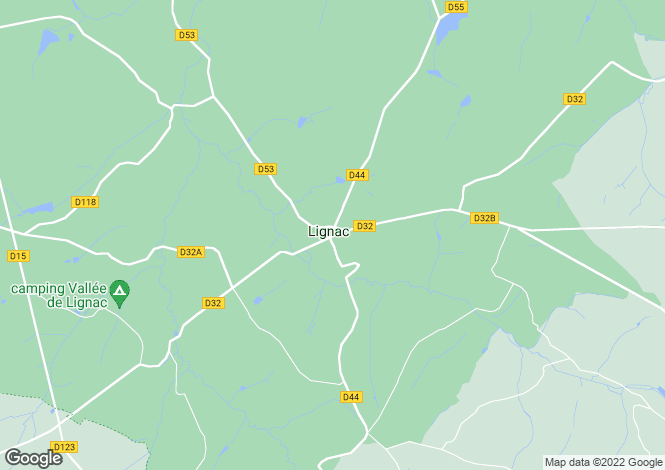 Map for lignac, Indre, France