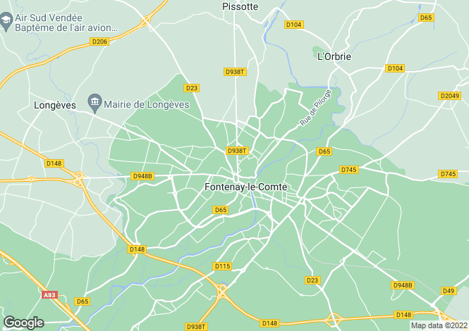 Map for Pays de la Loire, Vendée, Fontenay-le-Comte