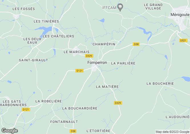 Map for Poitou-Charentes, Deux-Sèvres, Fomperron