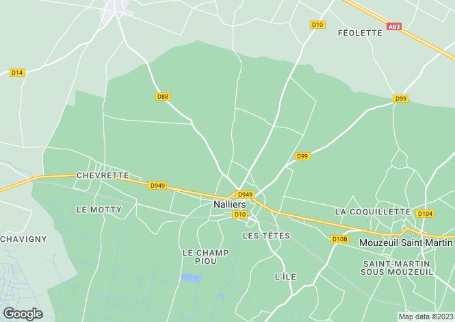 Map for Pays de la Loire, Vendée, Nalliers
