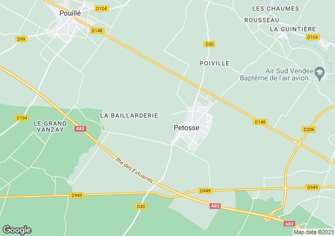 Map for petosse, Vendée, France