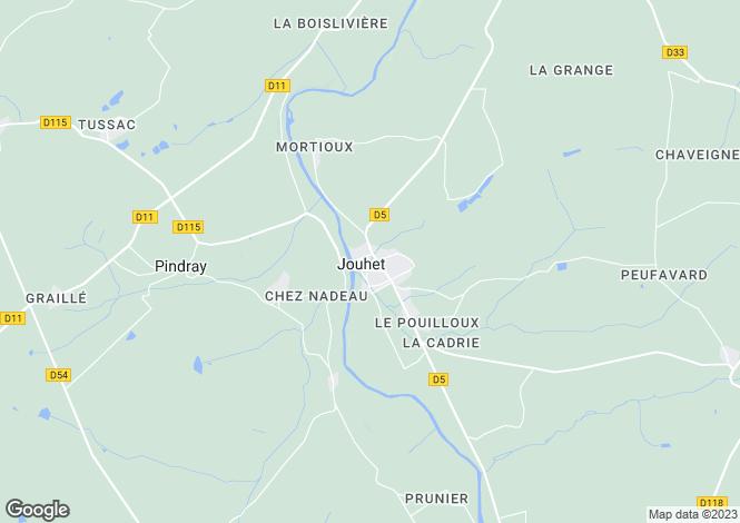 Map for Poitou-Charentes, Vienne, Jouhet