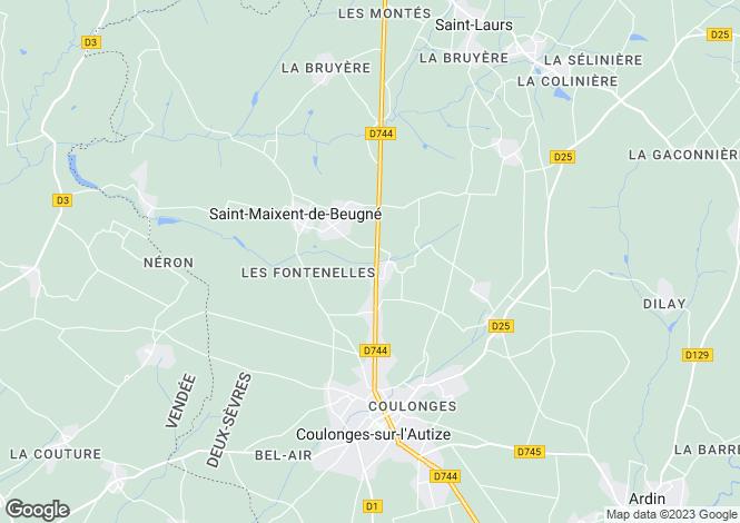Map for Poitou-Charentes, Deux-Sèvres, St-Maixent-de-Beugné