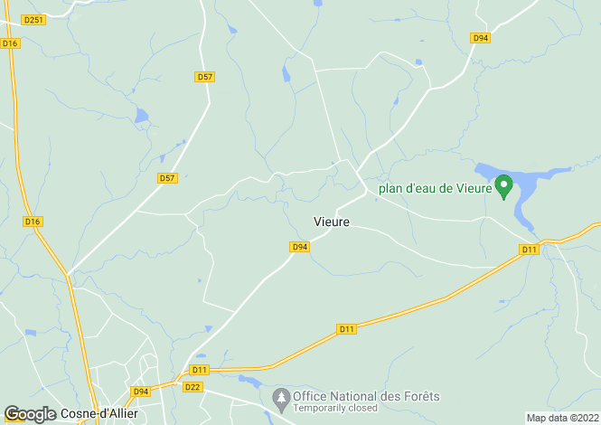 Map for vieure, Allier, France