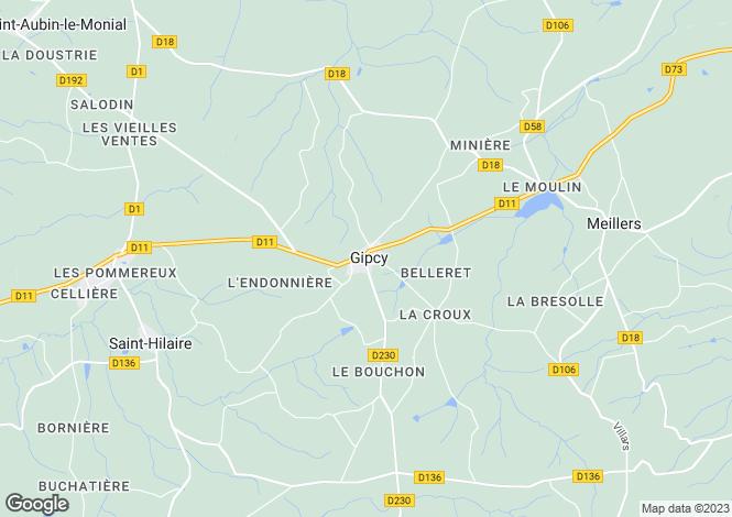 Map for Auvergne, Allier, Gipcy