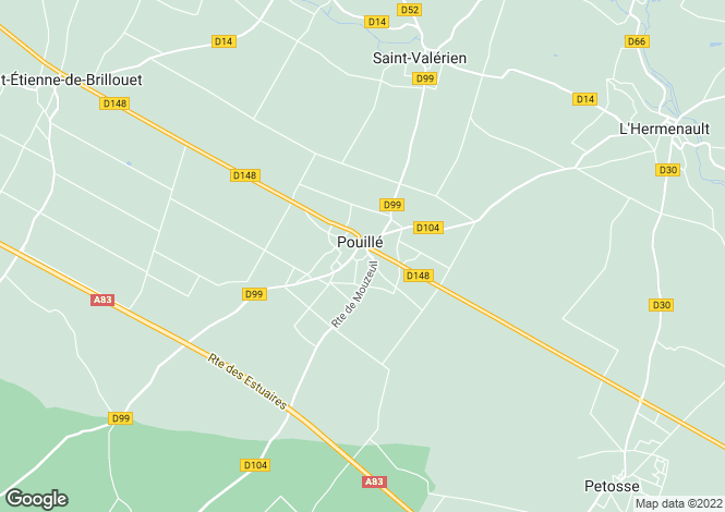 Map for pouille, Vendée, France