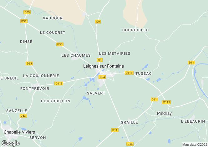 Map for Poitou-Charentes, Vienne, Leignes-sur-Fontaine