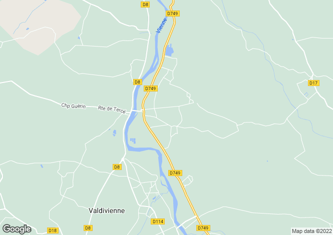 Map for valdivienne, Vienne, France