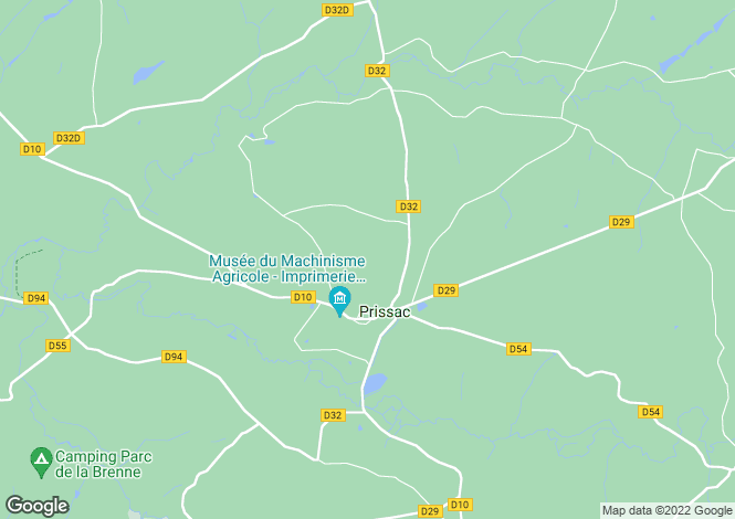 Map for Centre, Indre, Prissac