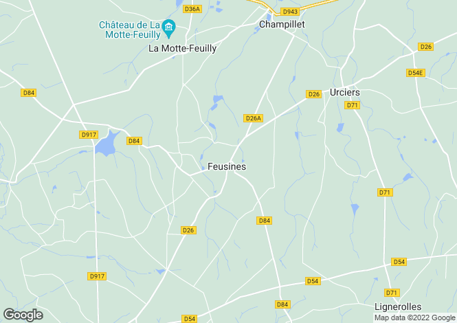 Map for feusines, Indre, France